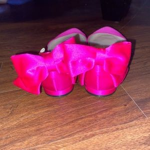 SJP Pink Pointed Toe Satin Leather Flats w/ bow